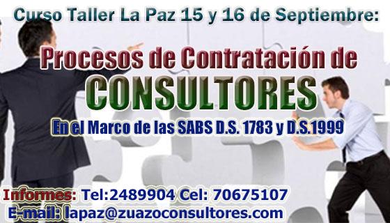 Curso Taller en LA PAZ 15 y 16 de Septiembre: