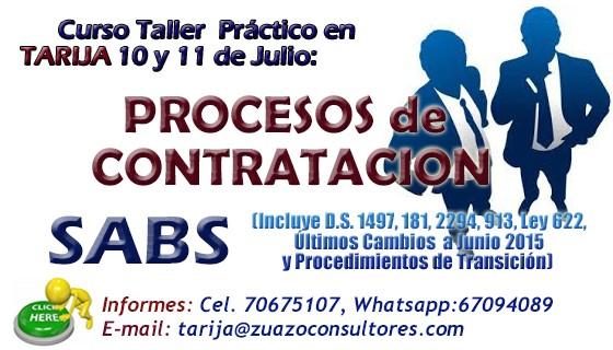 PROCESOS DE CONTRATACIÓN SABS en TARIJA 10 y 11 de Julio: