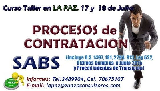 Curso Taller en LA PAZ – PROCESOS DE CONTRATACION 17 y 18 de Julio: