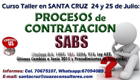 Curso Taller en SANTA CRUZ – PROCESOS DE CONTRATACIÓN 24 y 25 de Julio: