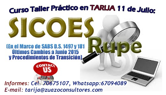 Curso Taller Practico en Tarija SICOES RUPE 11 de Julio de 2015