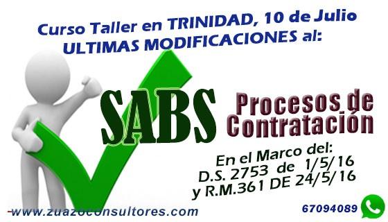 Curso Taller Últimas Modificaciones al SABS en TRINIDAD 10 de Julio: